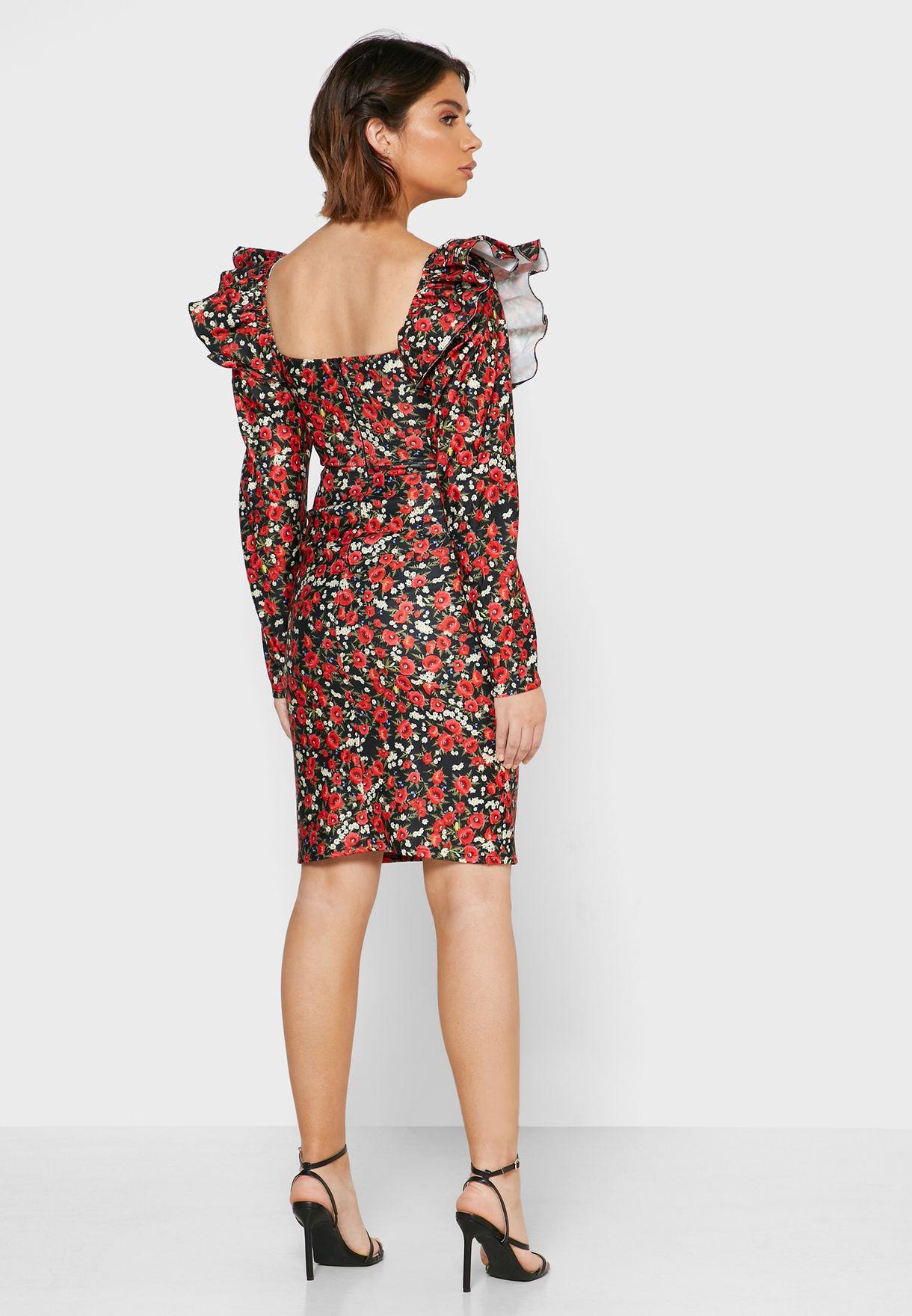 فستان ميني مزموم الاكمام بطبعات ازهار