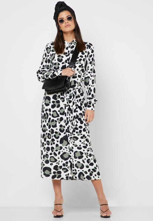 Leopard Print Midi Shirt Dress