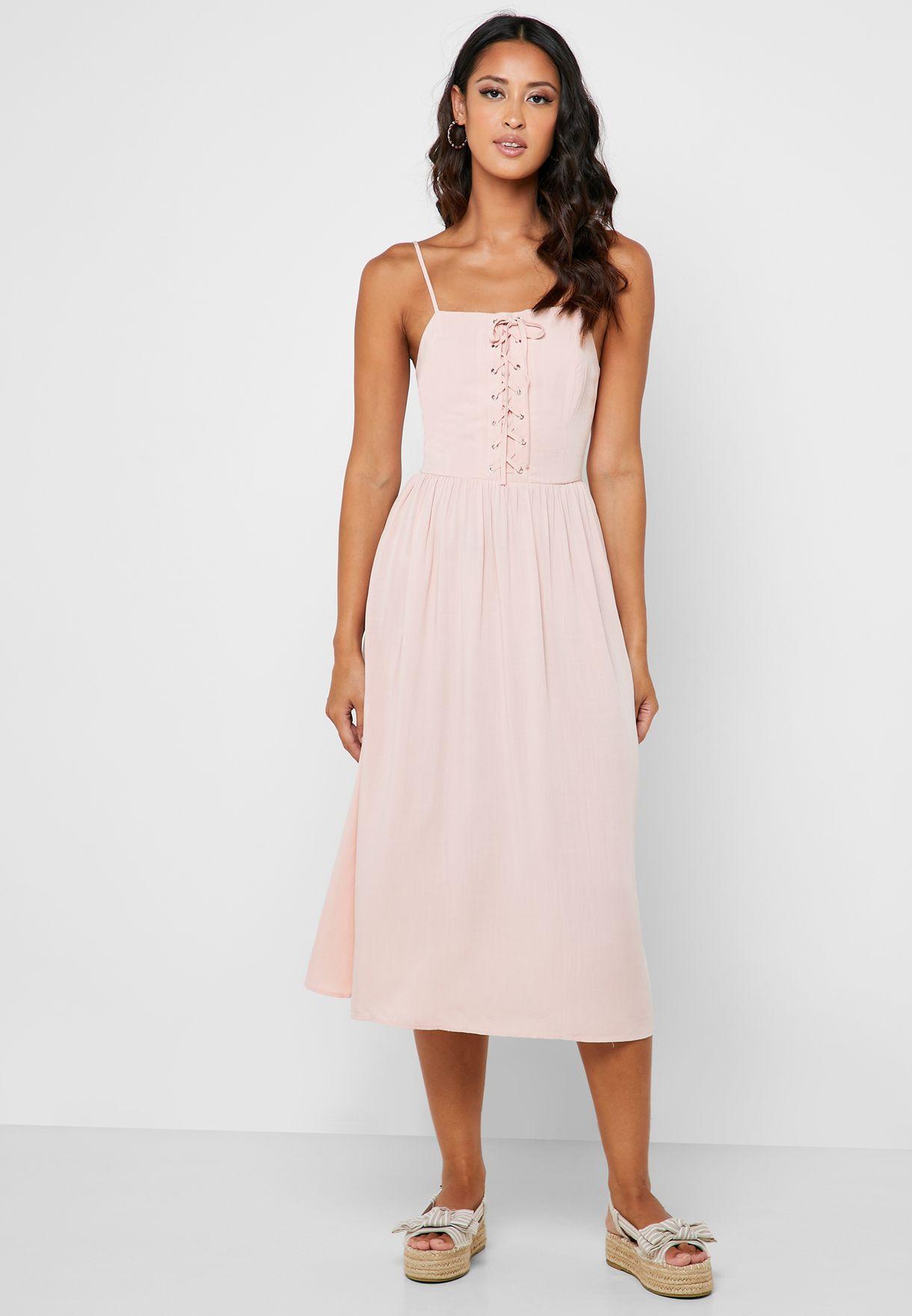 Lace Up Eyelet Cami Dress