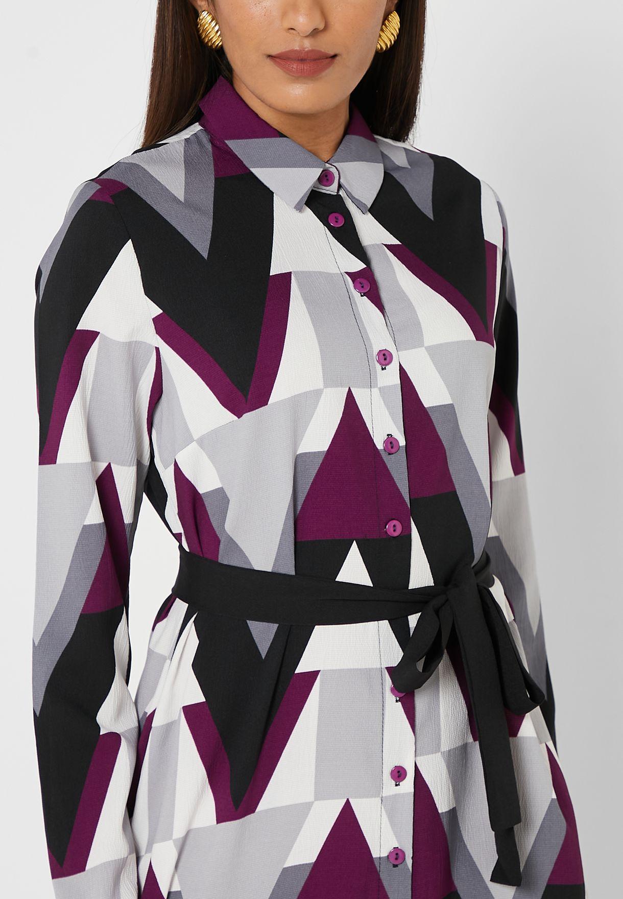 Self Tie Printed Shirt Dress