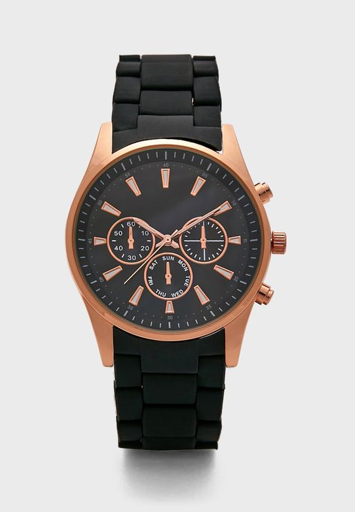 Black Rose Gold Matt Plate Analogue Watch