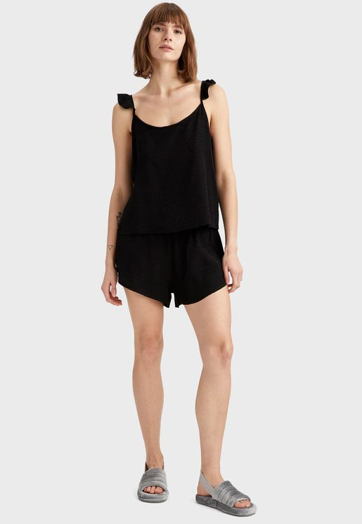 Ruffle Sleeve Top & Shorts Set