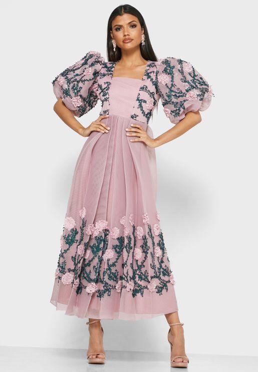 Floral Applique Pleated Dress