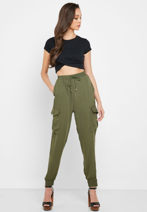 Tie Waist Cuffed Sweatpants