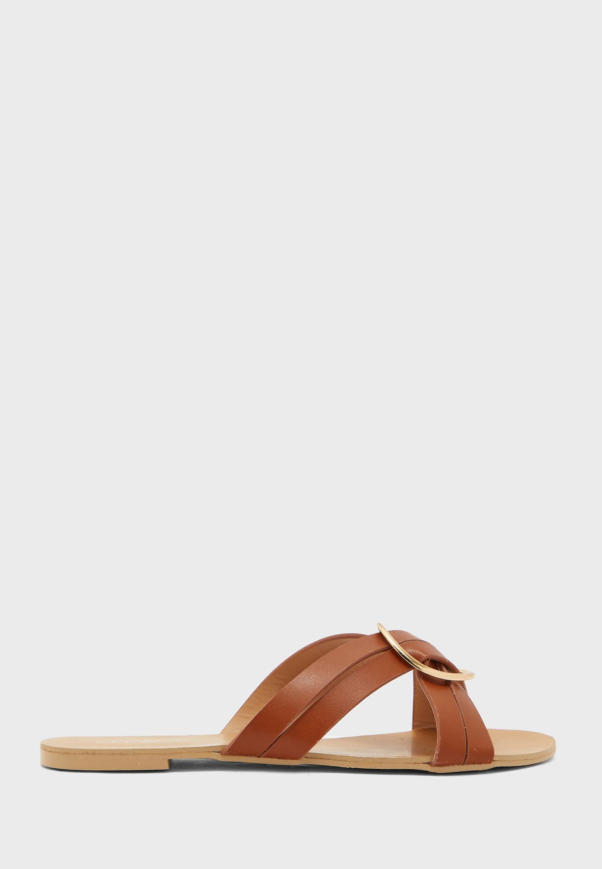 Cross Strap Ring Flat Sandals