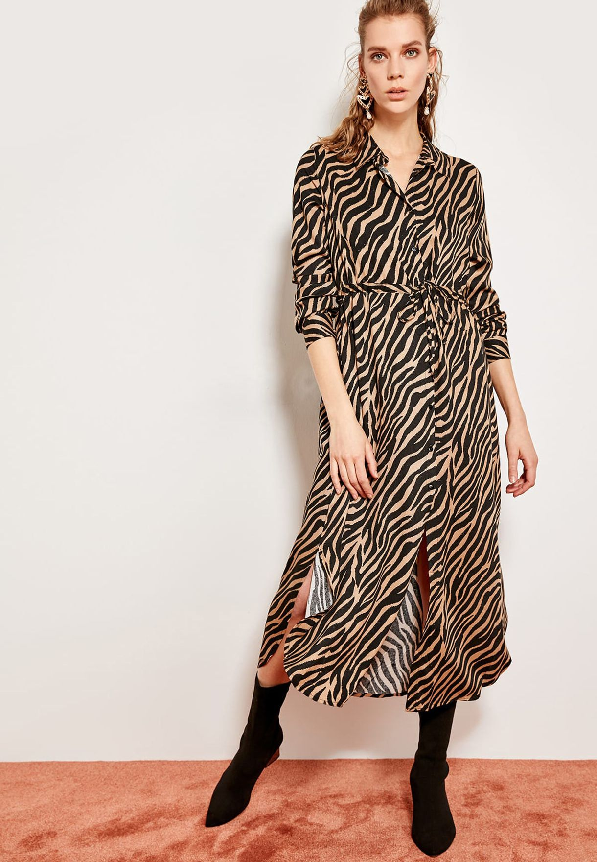 7ce7a59f9b1f Shop Trendyol prints Zebra Print Shirt Dress TCLSS19IS0002 ...