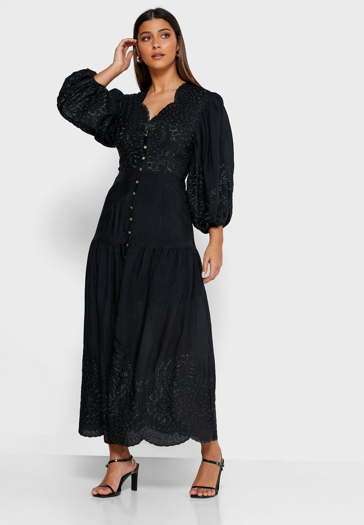 Scallop Neck Button Down Dress