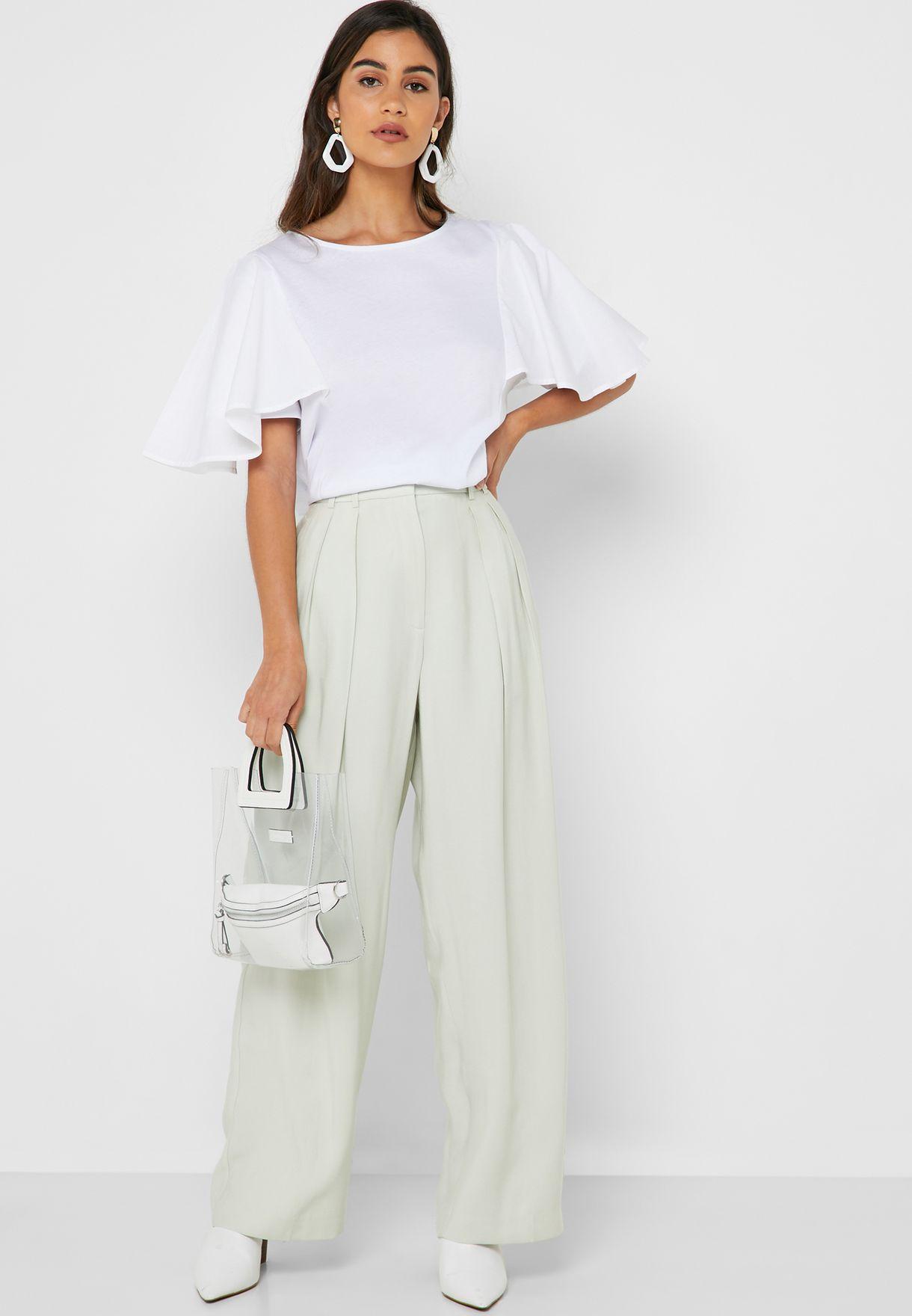 19c7683d09 Shop Mango green Pleated Wide Leg Pants 41045815 for Women in UAE ...