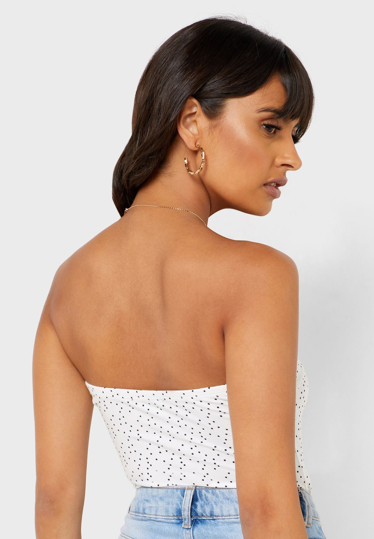 Ruched Detail Printed Bandeau Body