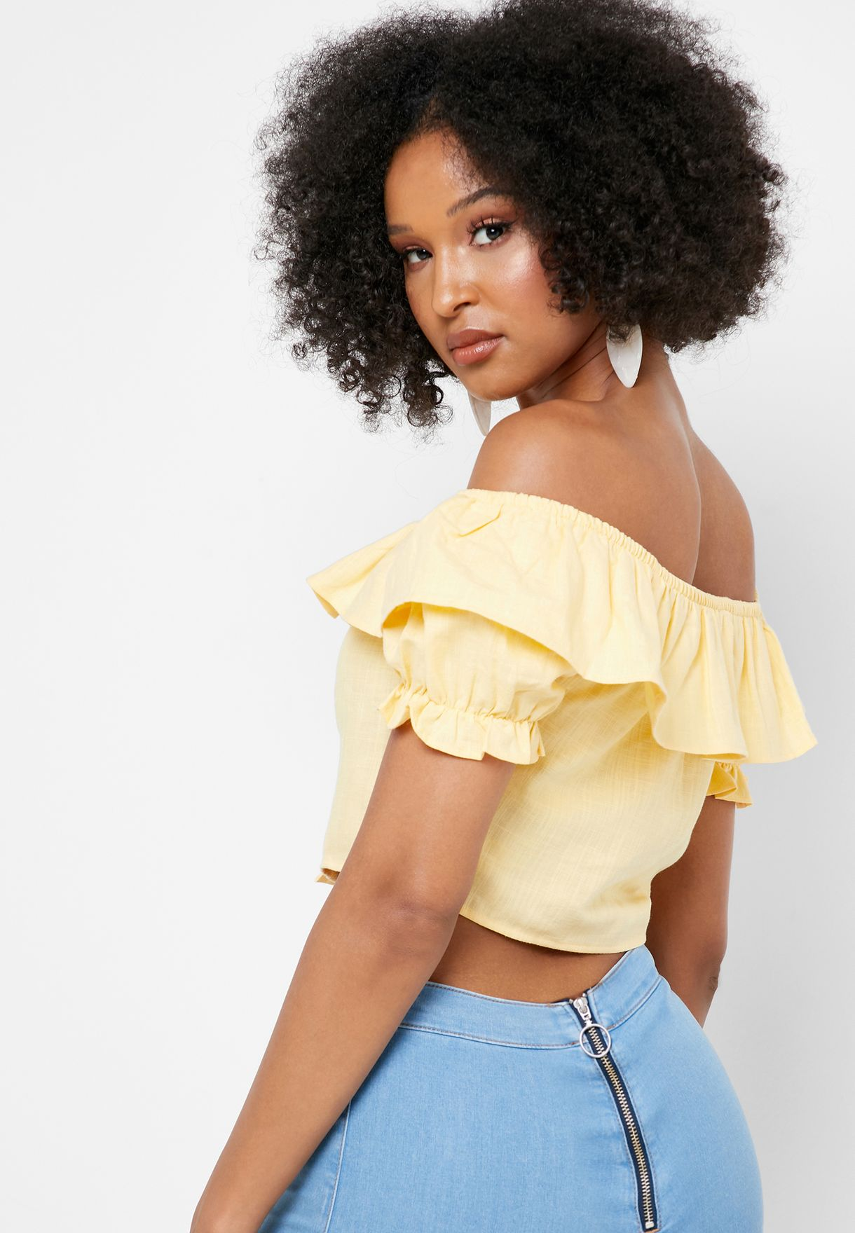 Bardot Button Through Cropped Top