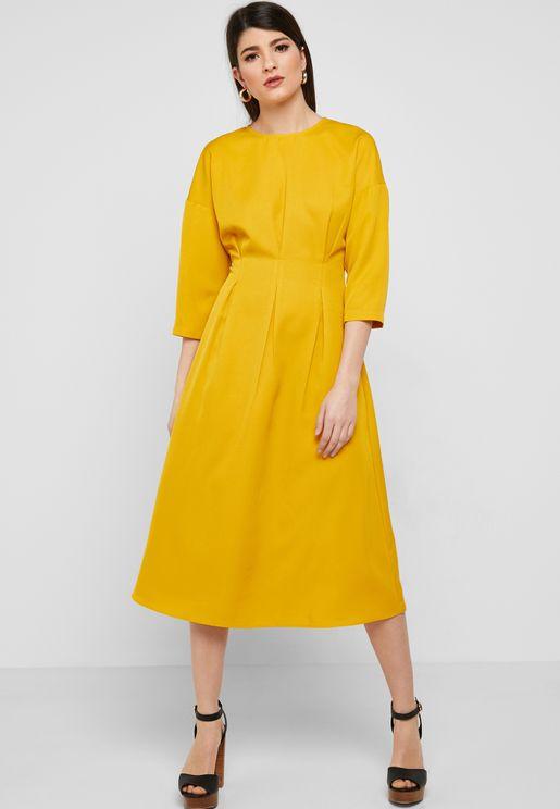 Box Pleat Midi Dress