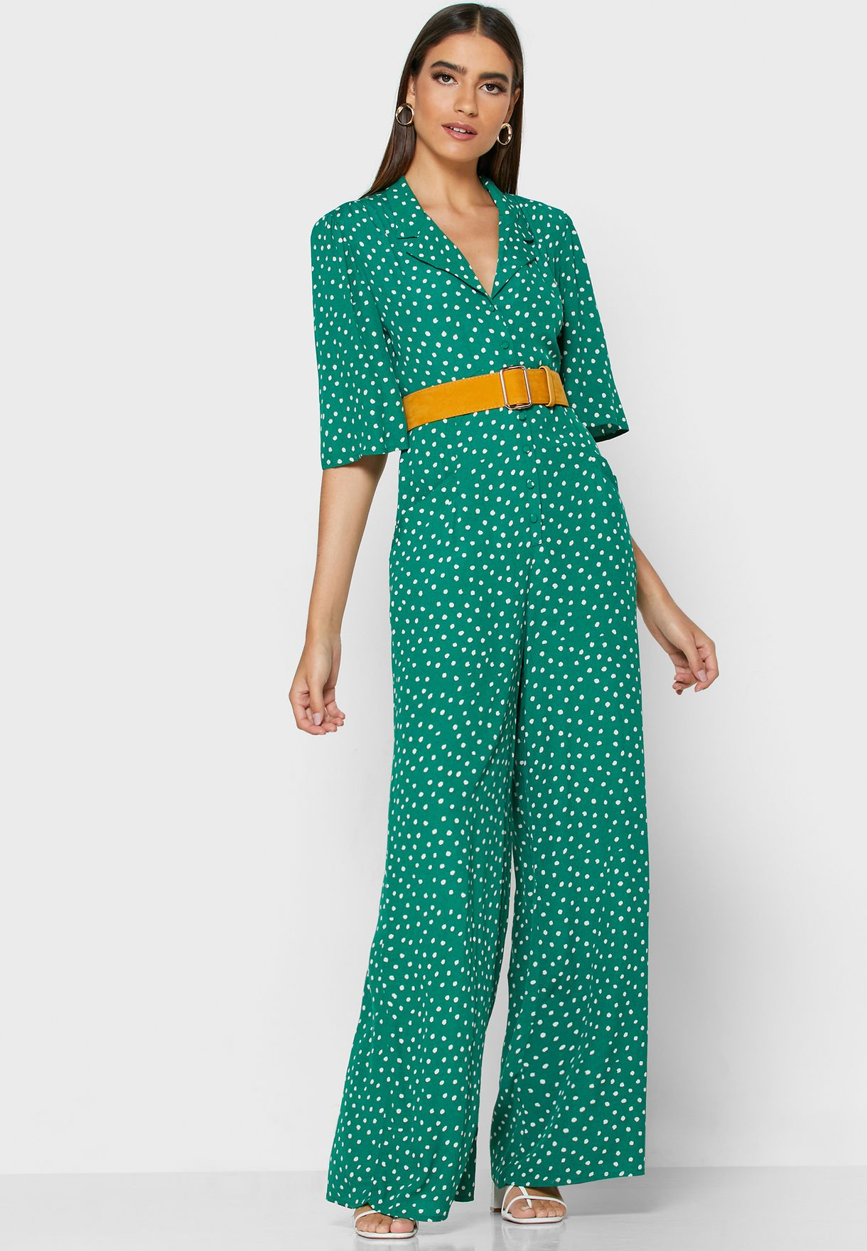 Button Down Printed Jumpsuit