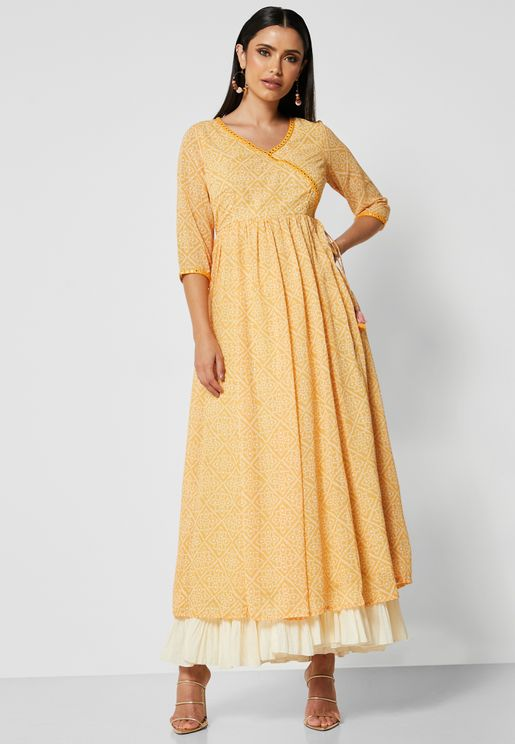 Yellow Bandhani Mirror Lace Angrakha Tunic