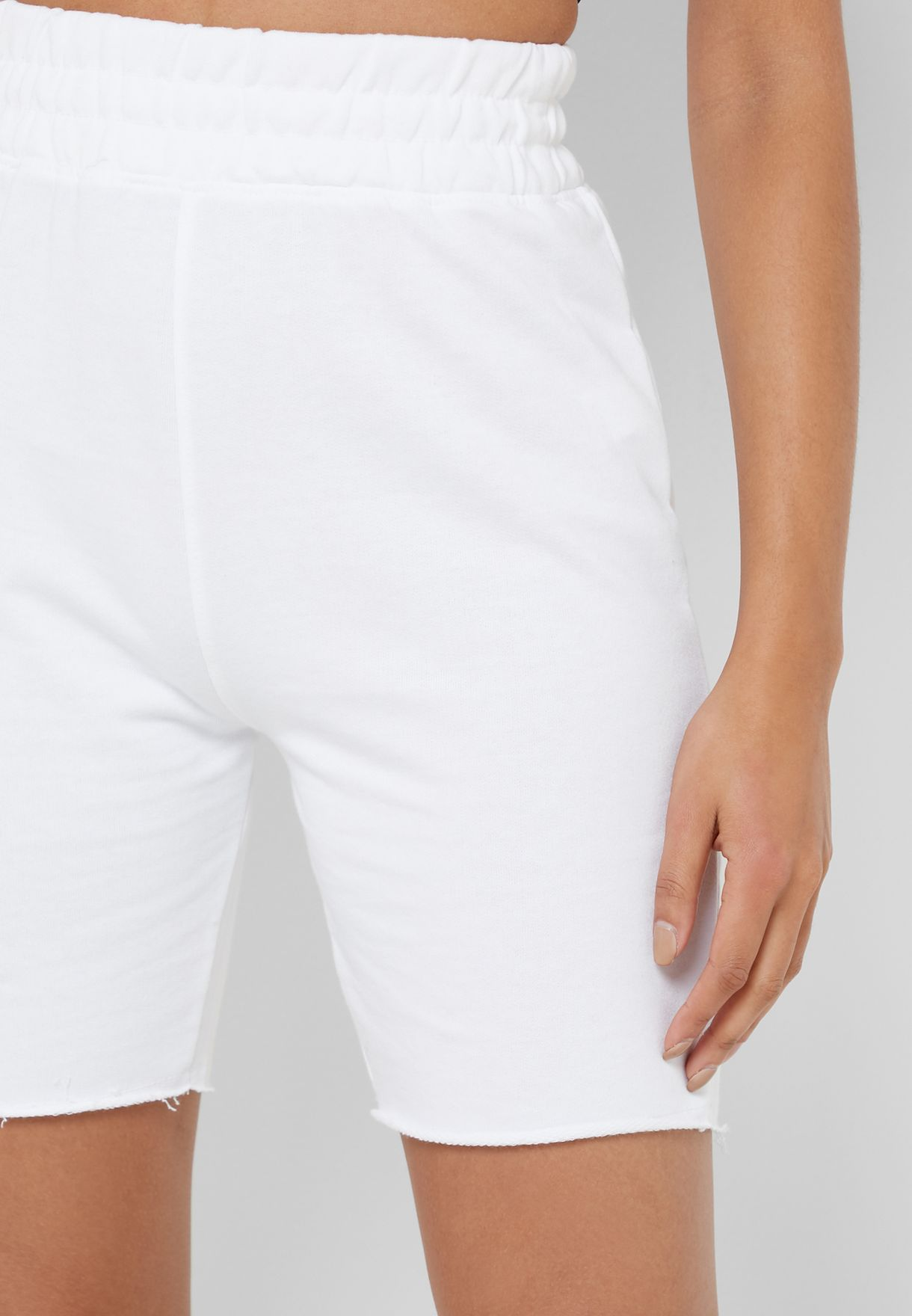 High Waist Raw Hem Shorts