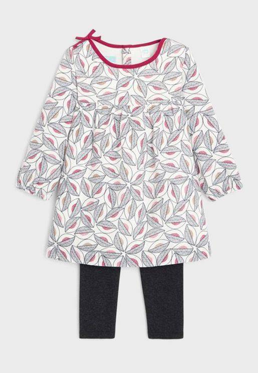 Infant Printed Dress + Leggings Set