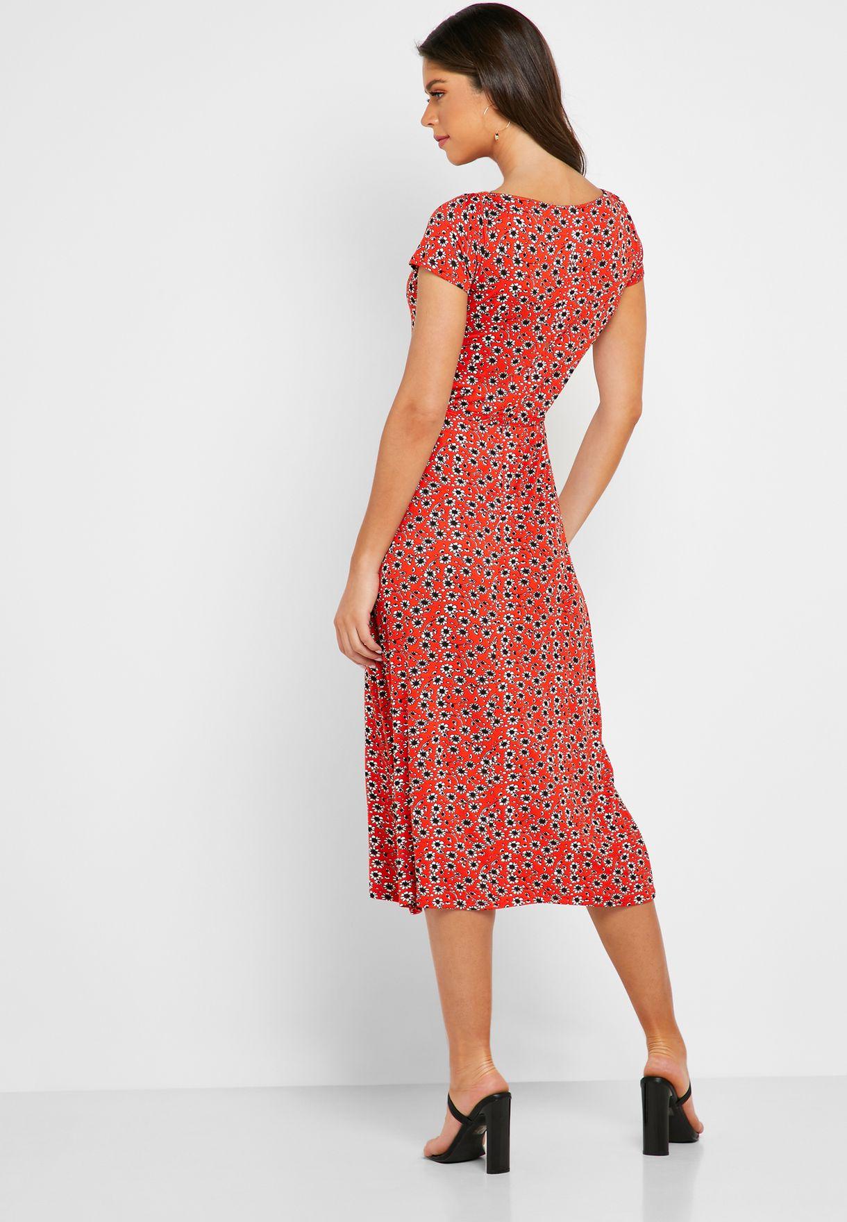 Floral Print Short Sleeve Dress