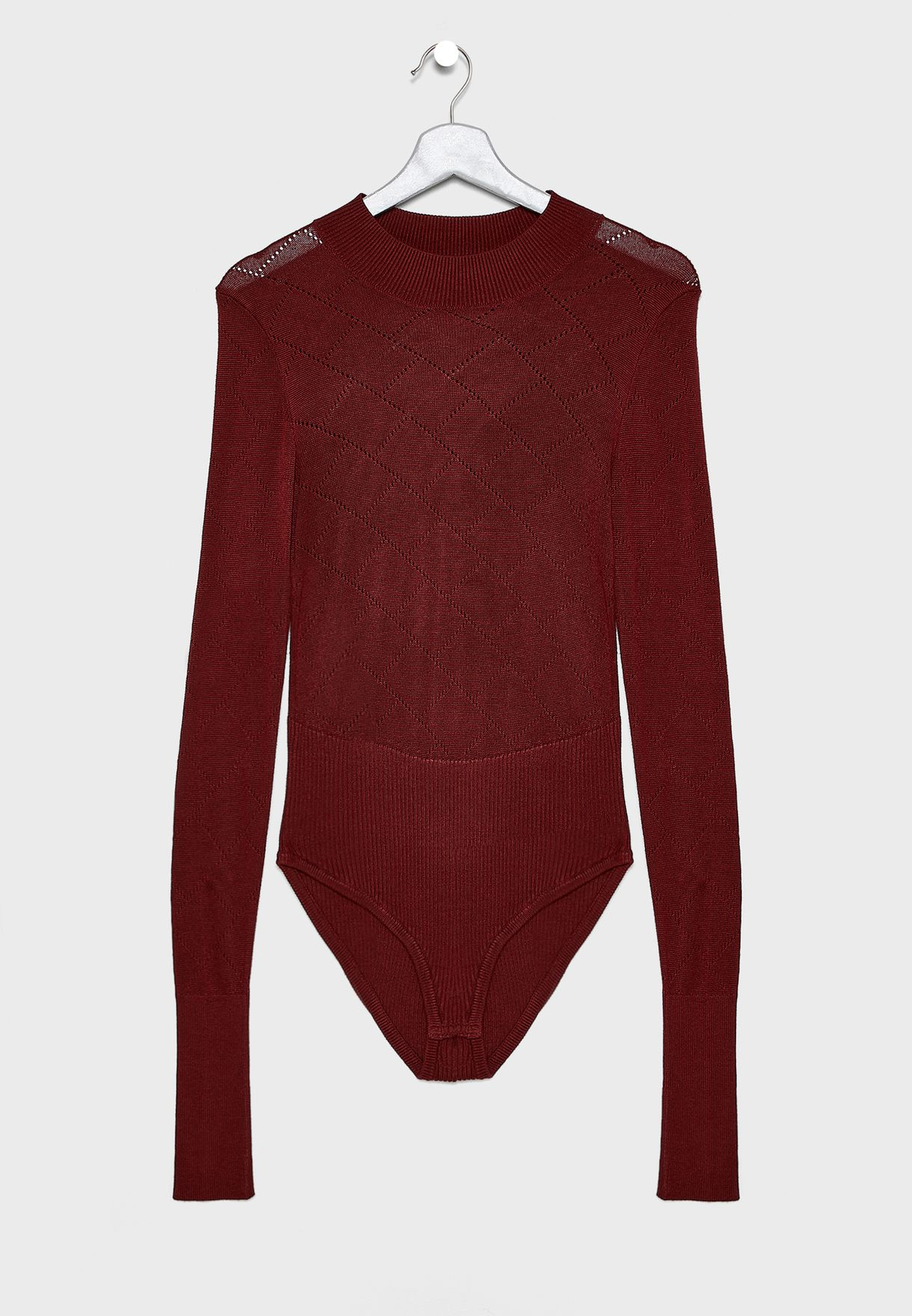 What The Pointelle High Neck Mesh Top