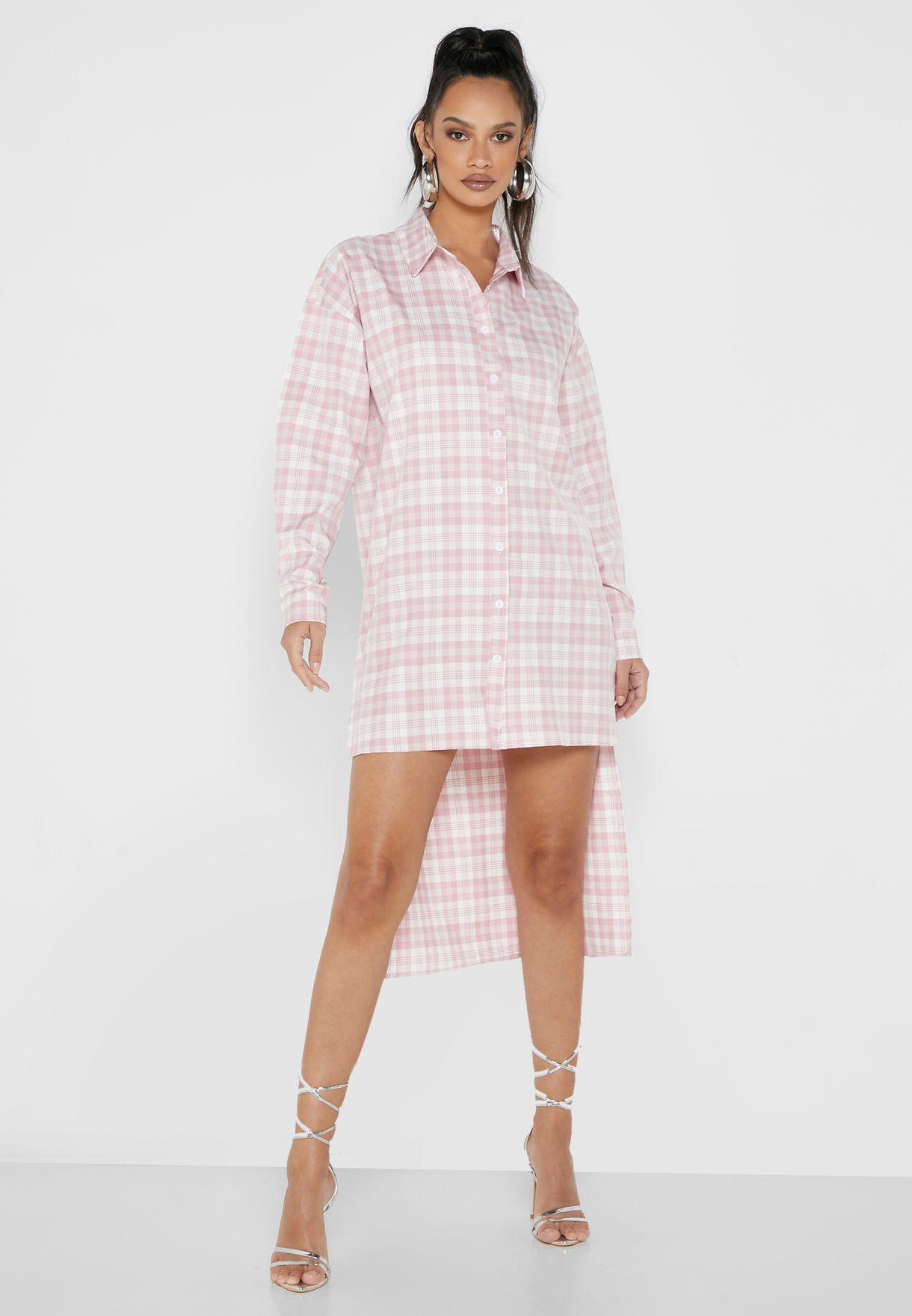 Oversized Step Hem Mini Shirt Dress