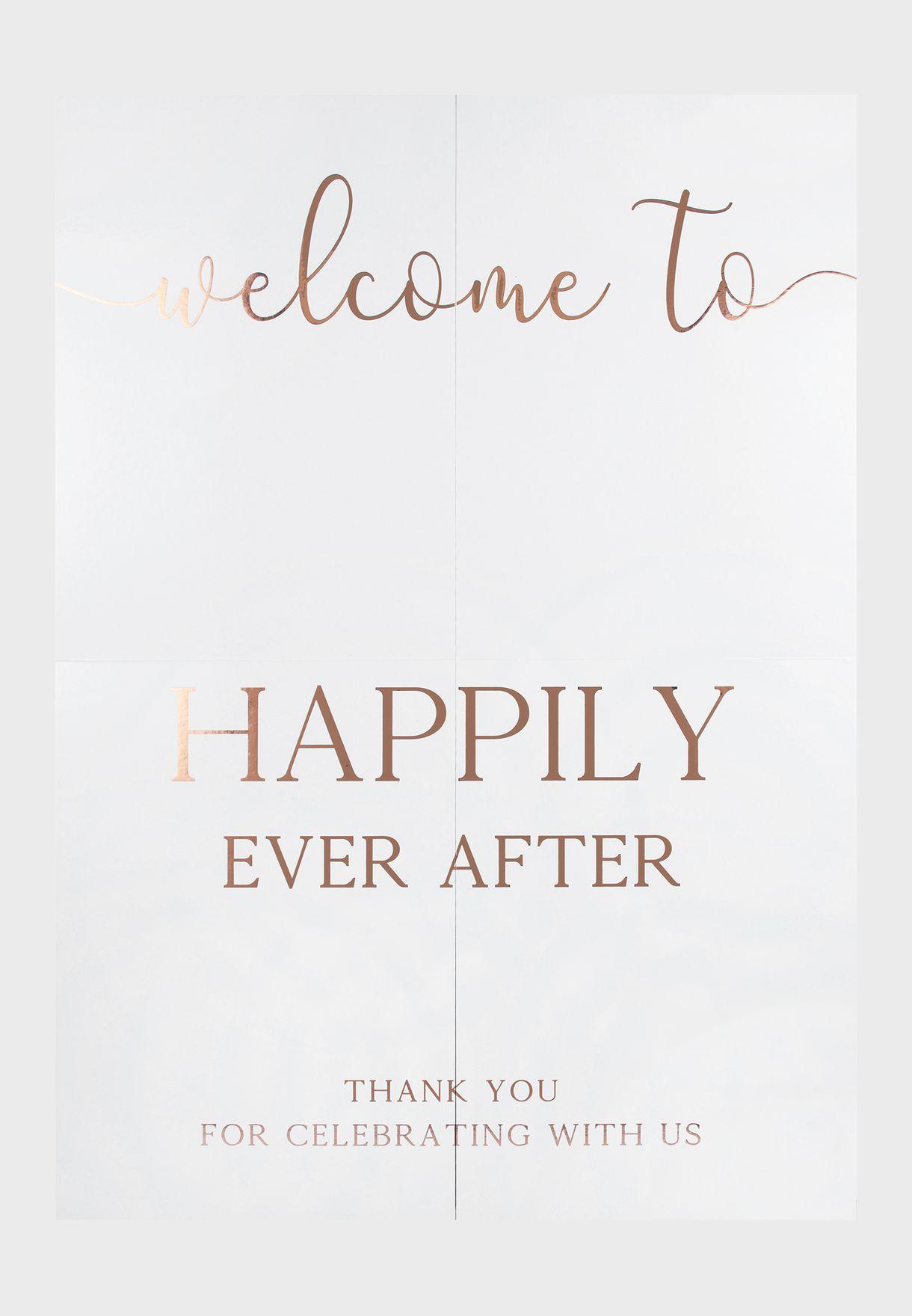 لافتة ترحيب لمدخل حفل الزفاف