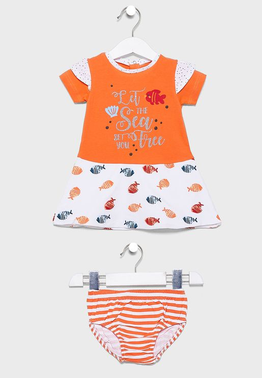 Infant Graphic Dress + Knicker Set