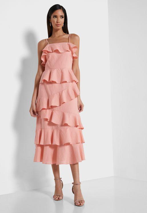 فستان مكشكش بحمالات اكتاف رفيعة