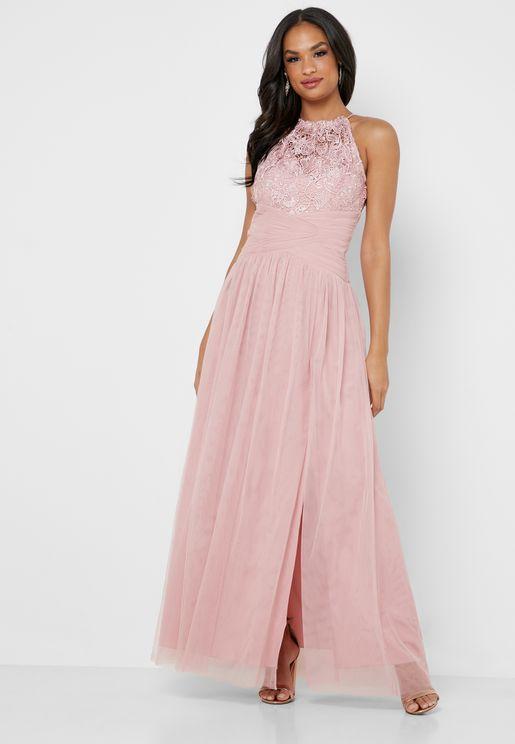 Crochet Front Slit Maxi Dress