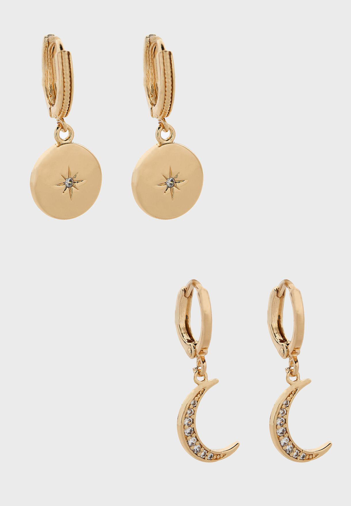 Mini Moon And Star Pendant Earrings Set