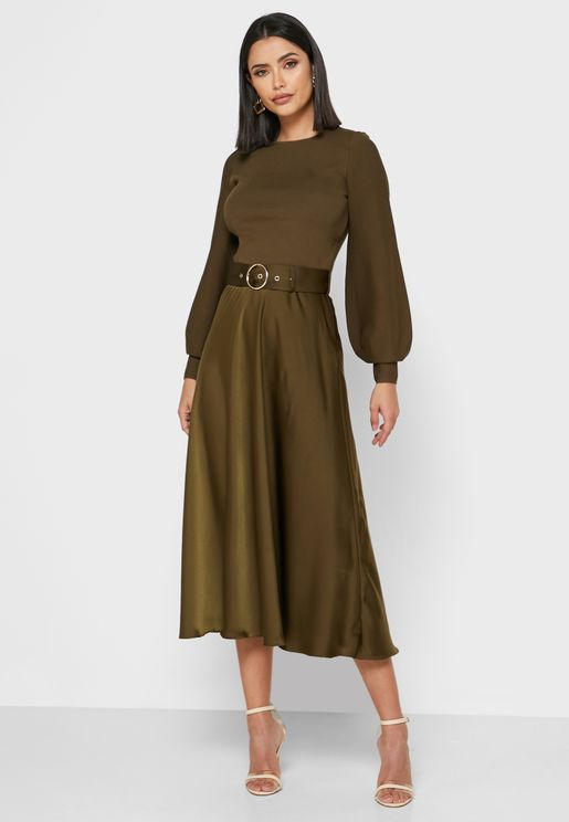 Gwenii Puff Sleeve Belted Dress