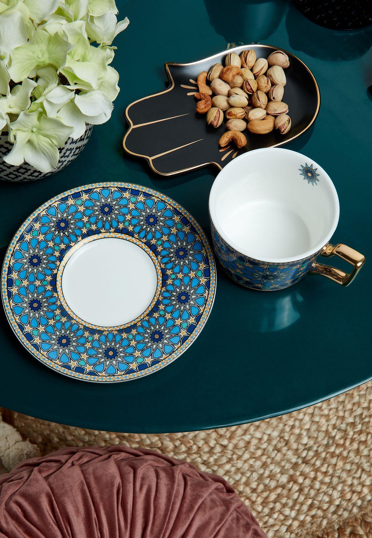 Patterned Tea Cup & Saucer
