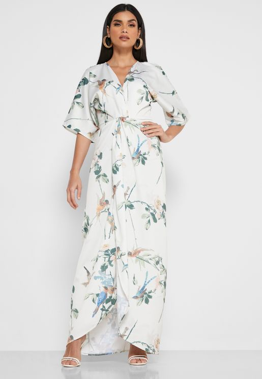 Front Twist Printed Maxi Dress