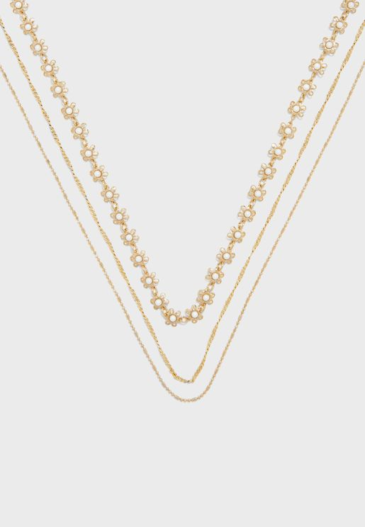 Daisy Metal Layered Necklace Set
