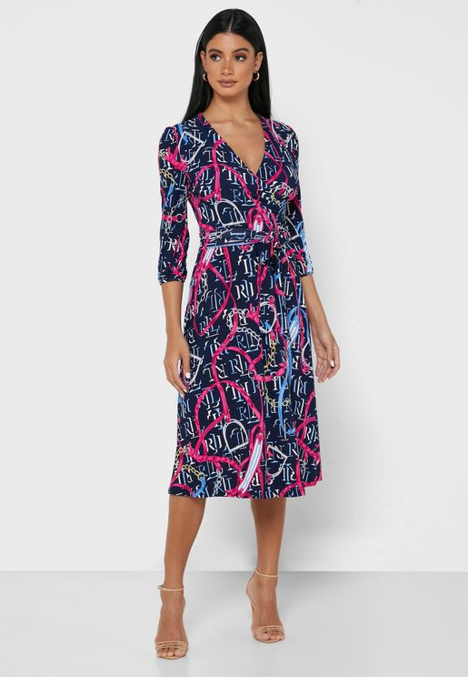 Carlyna Slv Side Tie Wrap Dress