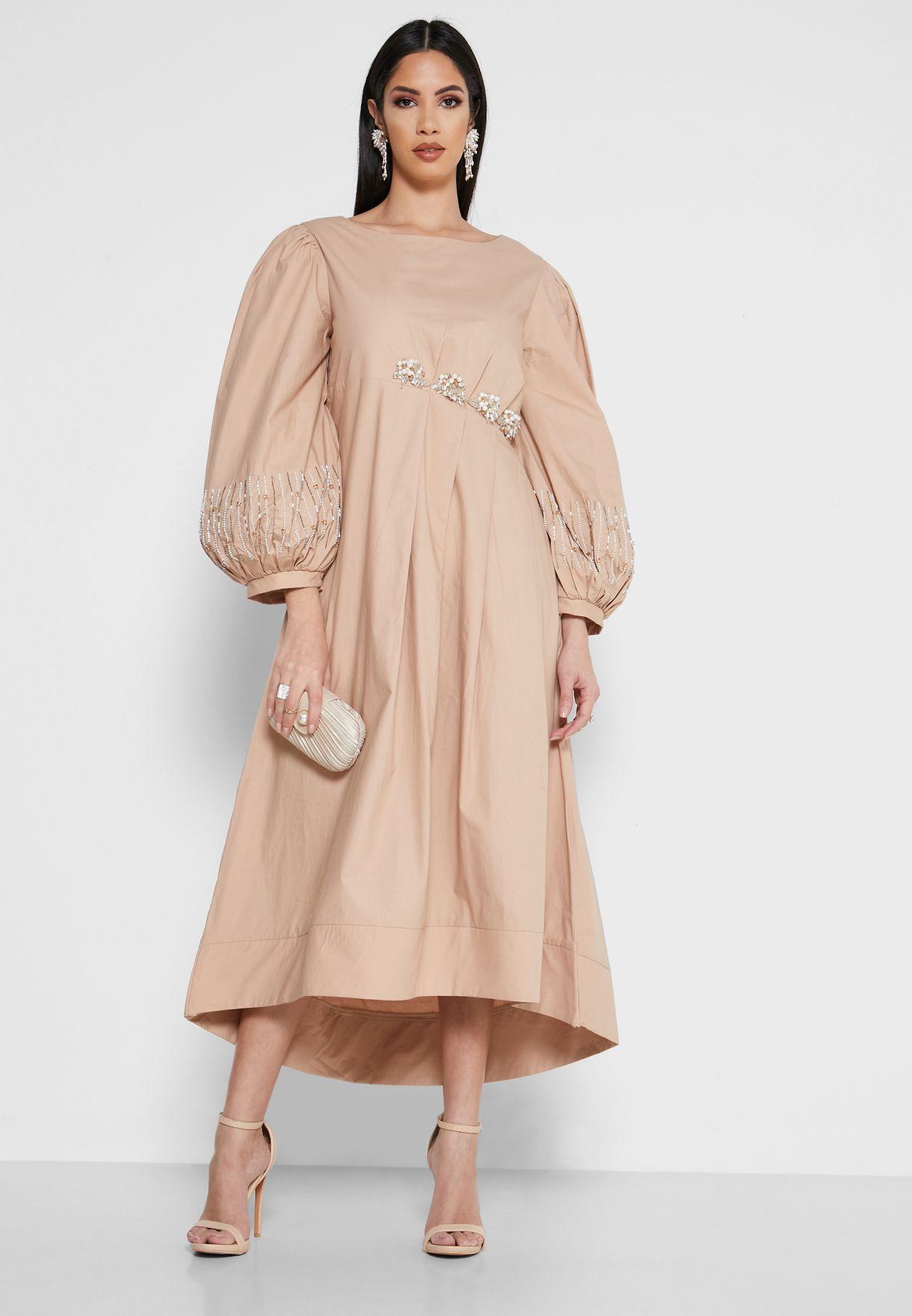 فستان مرصع من جهة واحدة