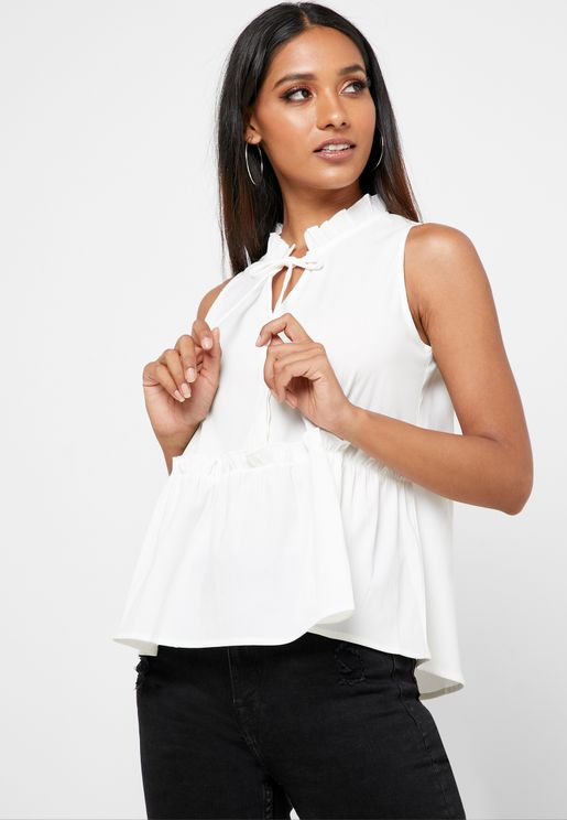 Ruffle Detail Peplum Top