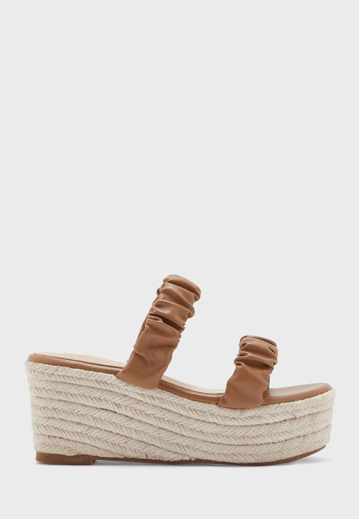 Scrunched Two Strap Wedge