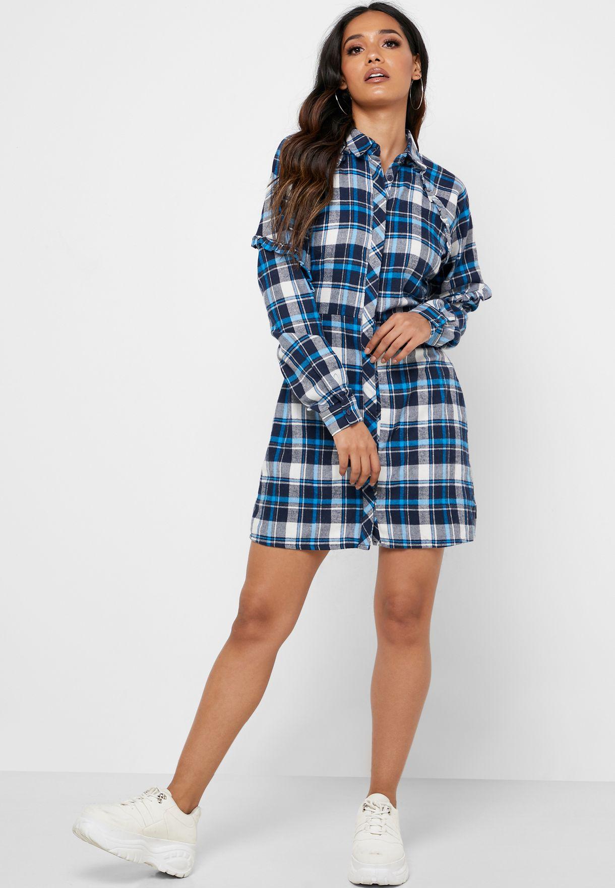 Ruffle Sleeve Checked Shirt Dress