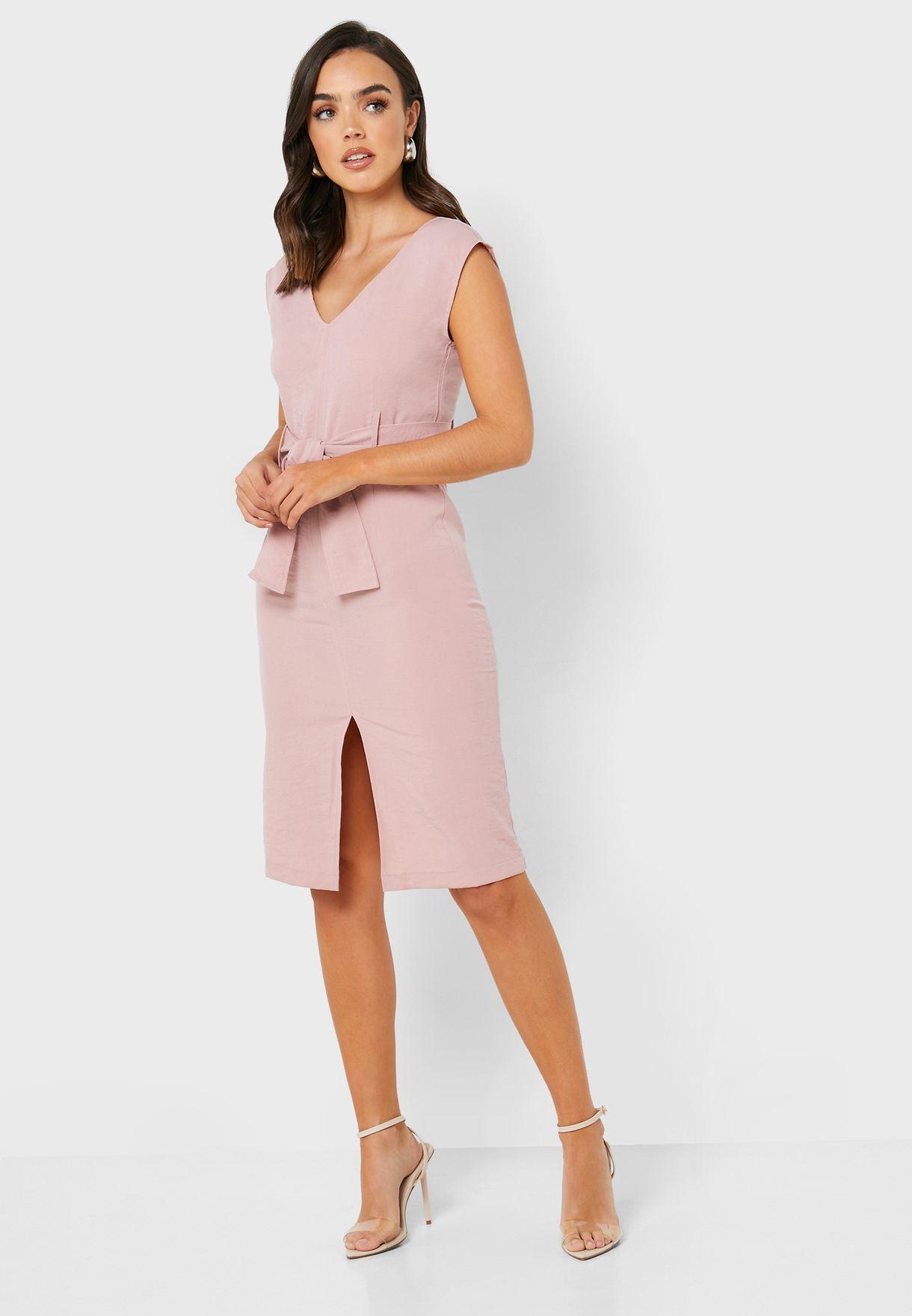 Self Tie Midi Dress