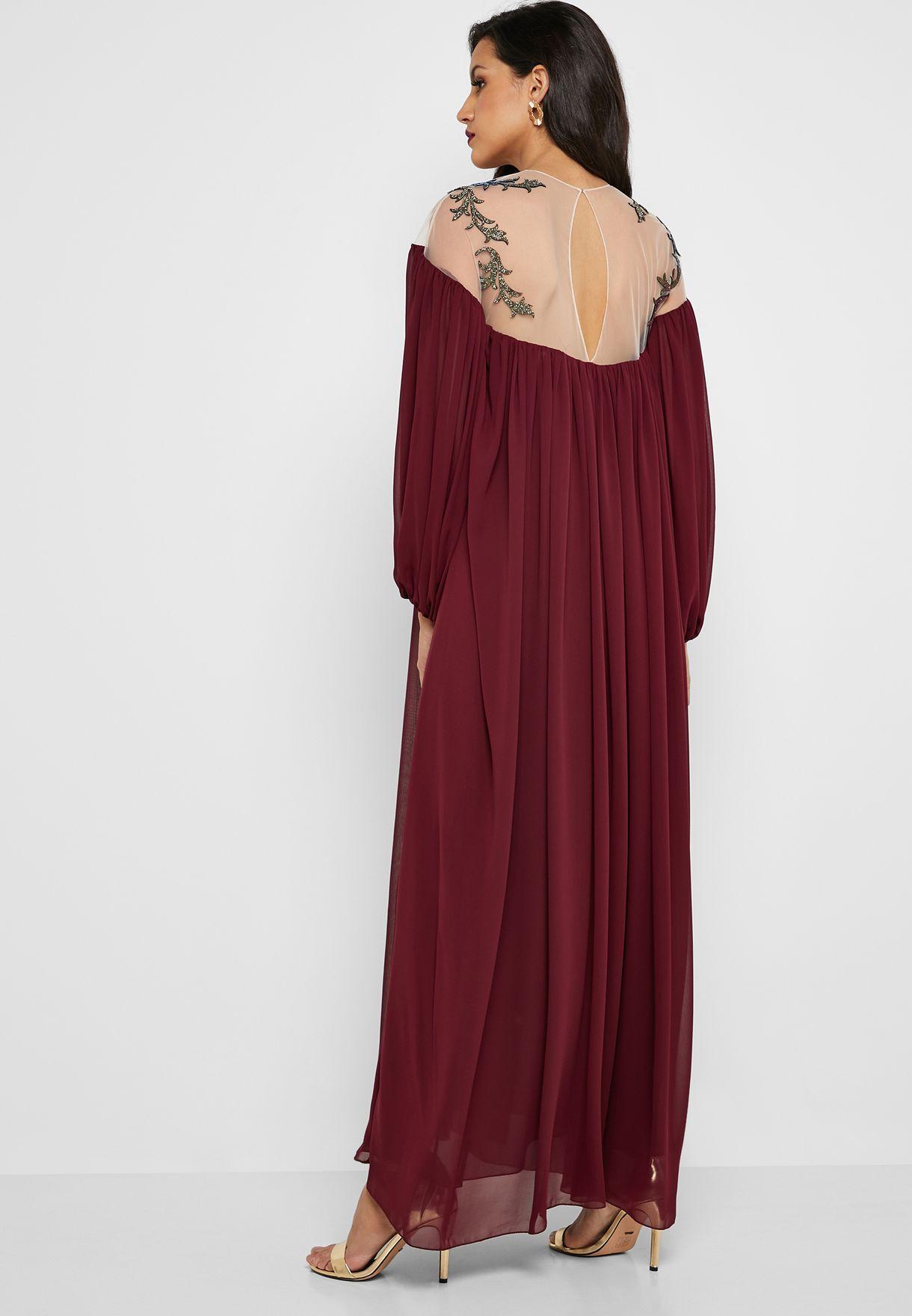 فستان ماكسي باكمام طويلة