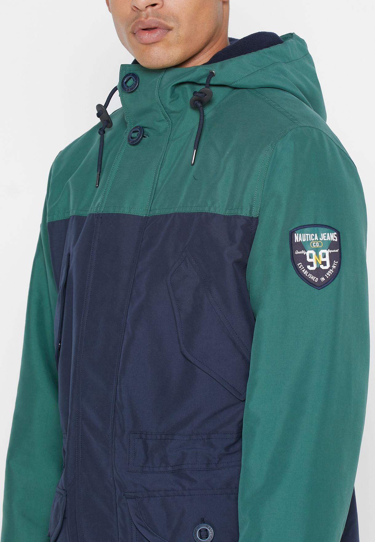 Color Block Hooded Jacket