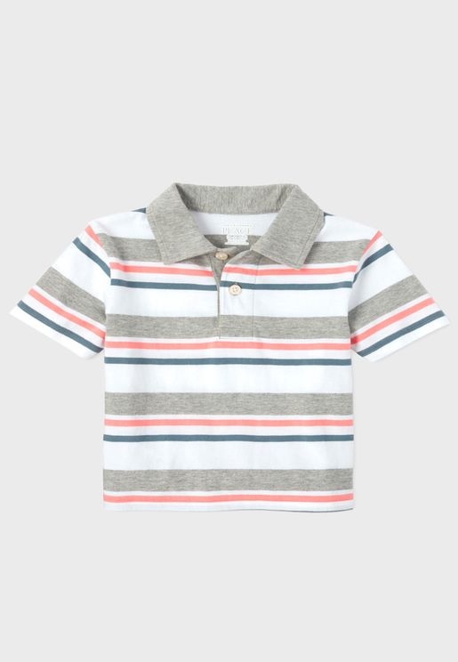 Kids Stripped Jersey Polo