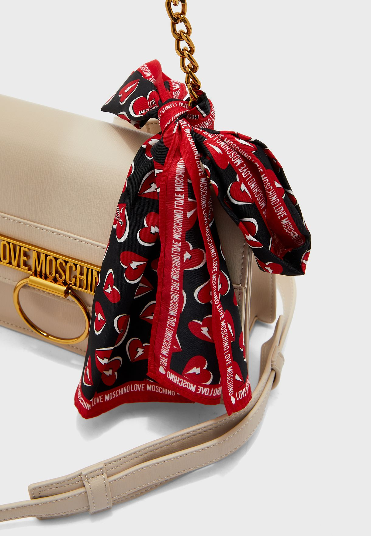 Flap Over Scarf Detail Crossbody