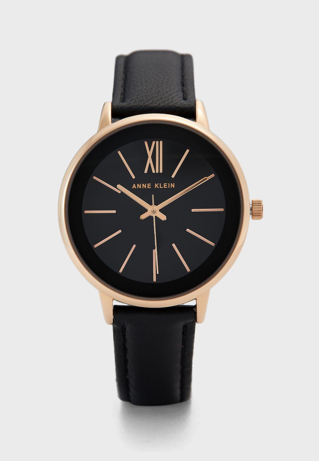 AK3252RGBK Leather Strap Analog Watch