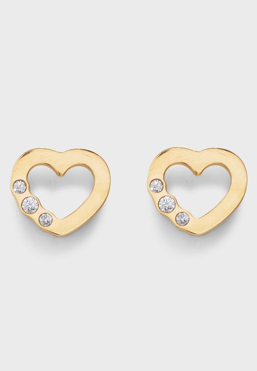 Small Heart Frame Crystal Studs
