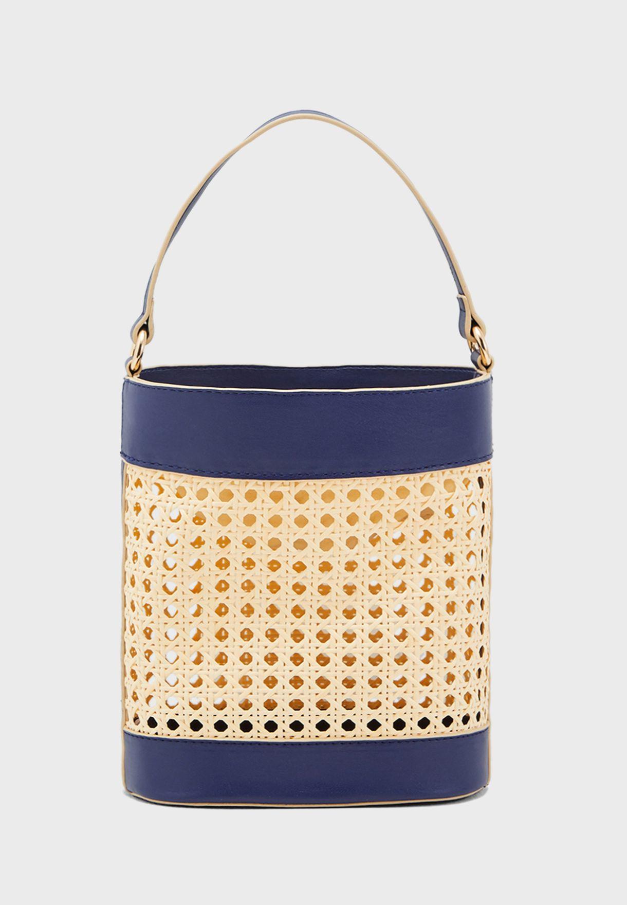 Basket Weave Drawstring Crossbody