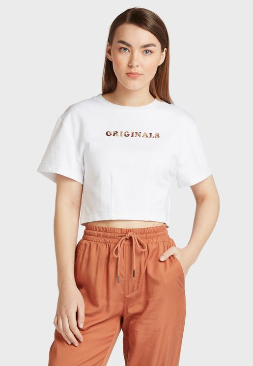 Slogan Crop T-Shirt