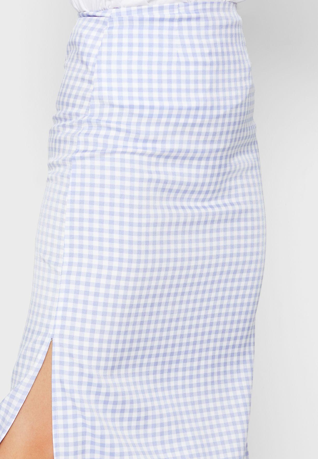 Checked Midi Skirt