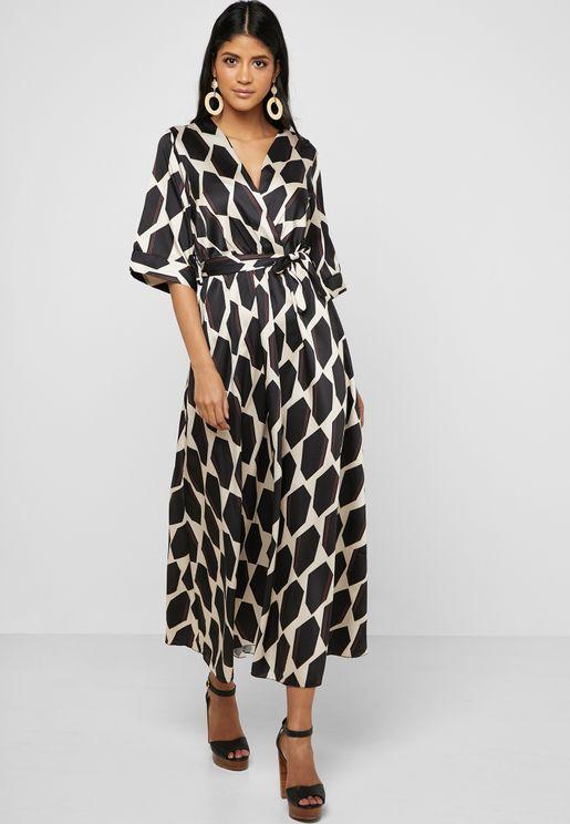 b6c469122320ca Geo Print Wrap Front Maxi Dress