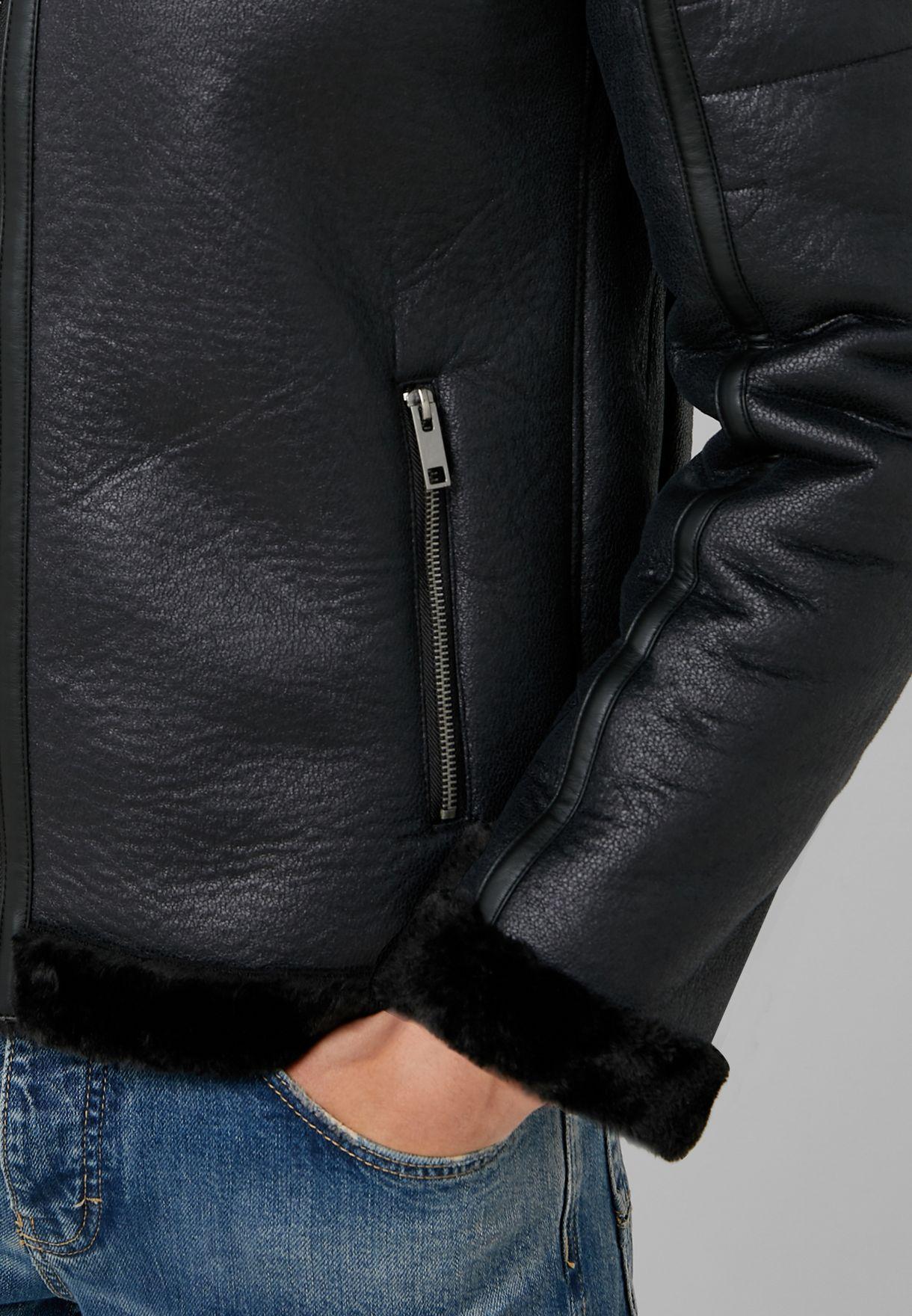 Faux Fur Trim PU Coat