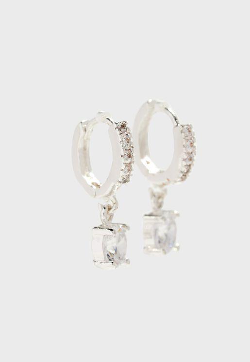 Hooped Earrings With Diamante Detail