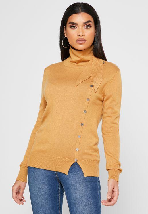 Tie Neck Button Detail Sweater